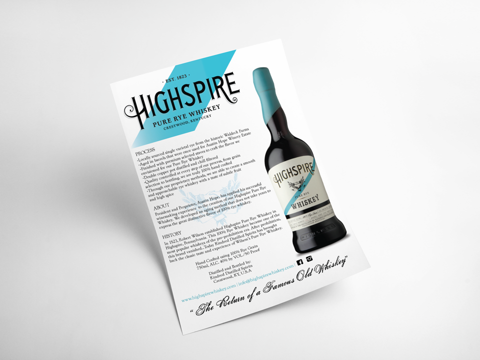 Graphic Design of Sales Collateral for Whiskey Distillery and Spirits Brand