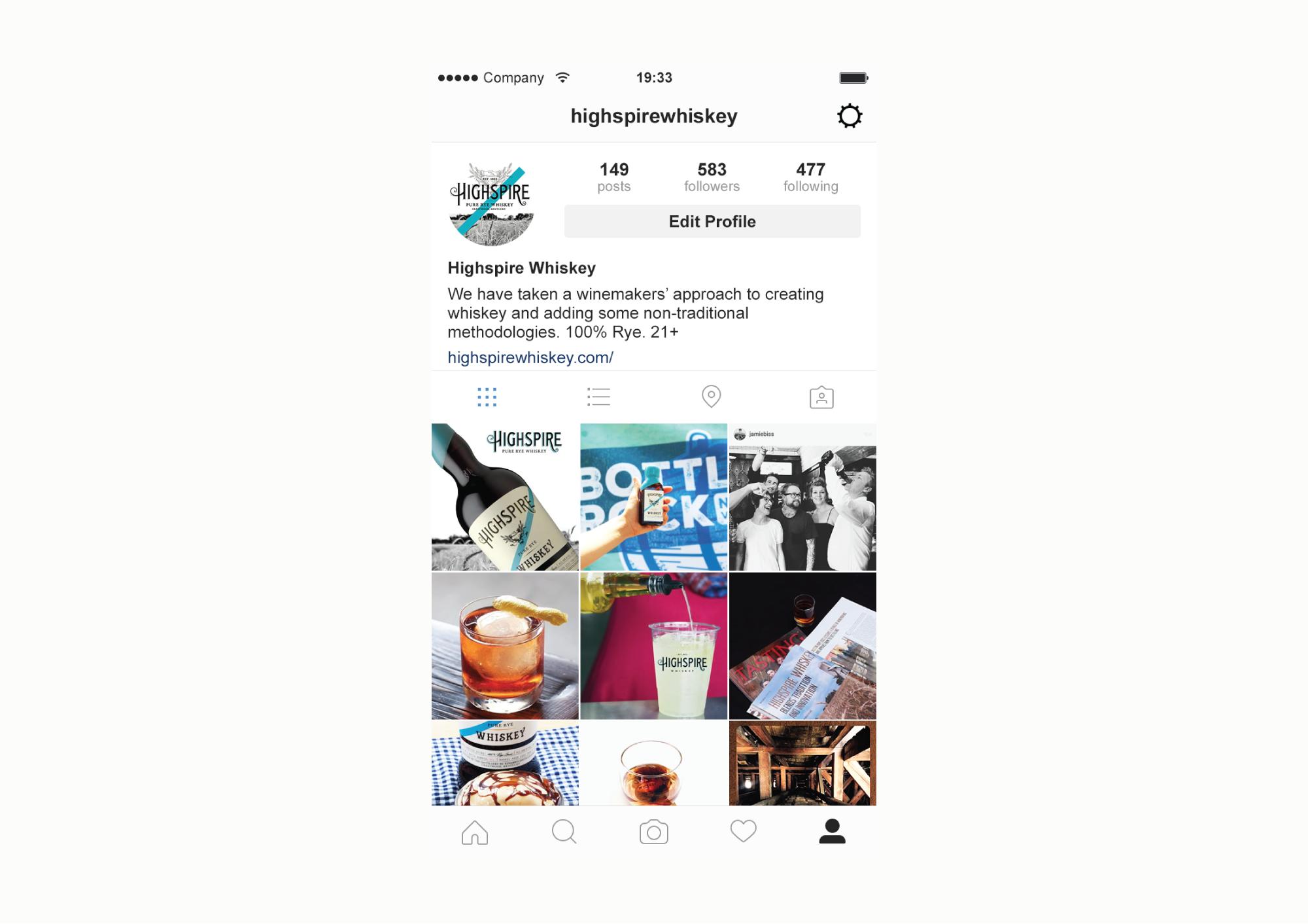 Social Media Graphics Designed for Highspire Whiskey Brand by Amarie Design Co.