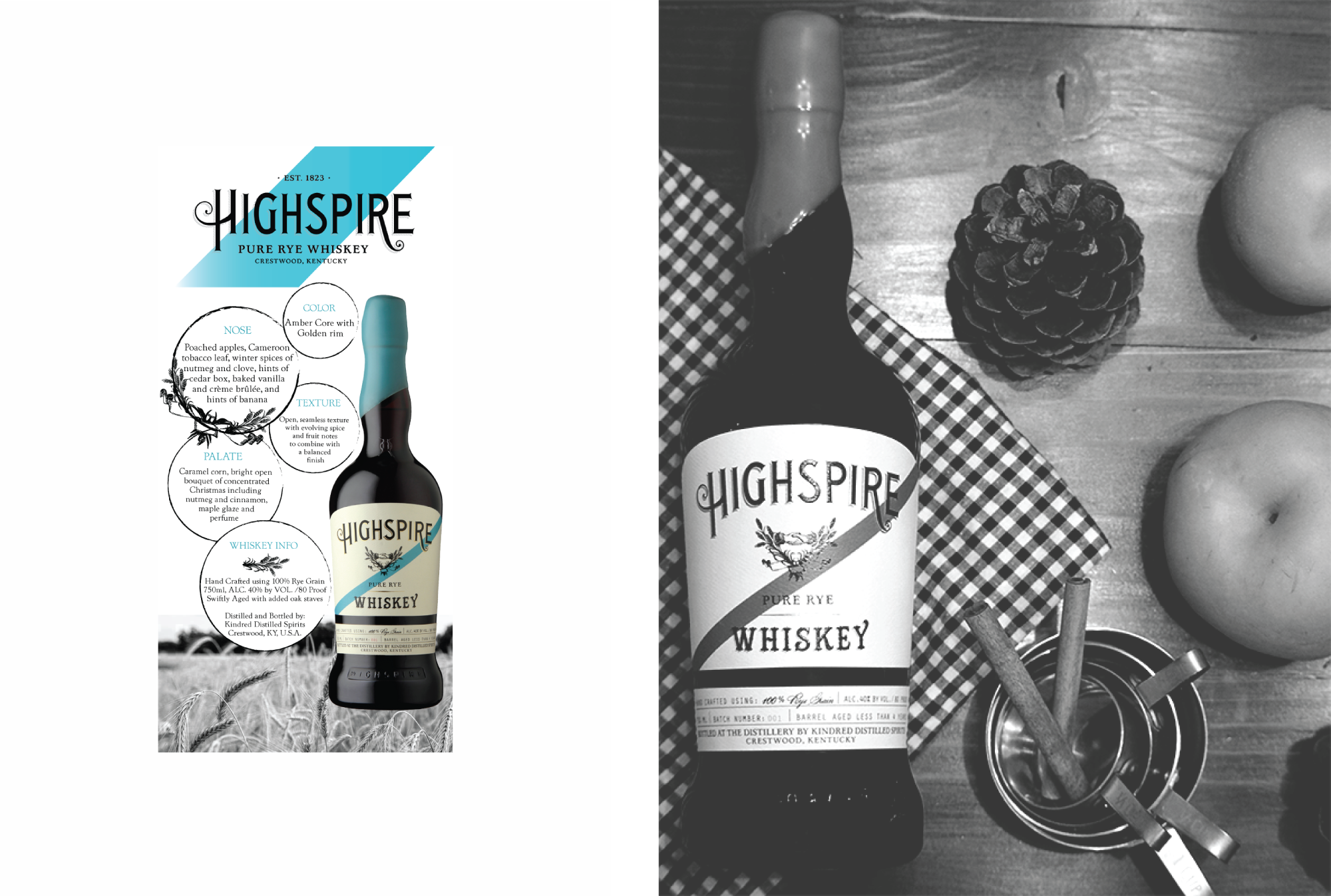 Graphic Design and Photography for Highspire Whiskey Spirits Brand by Amarie Design Co.