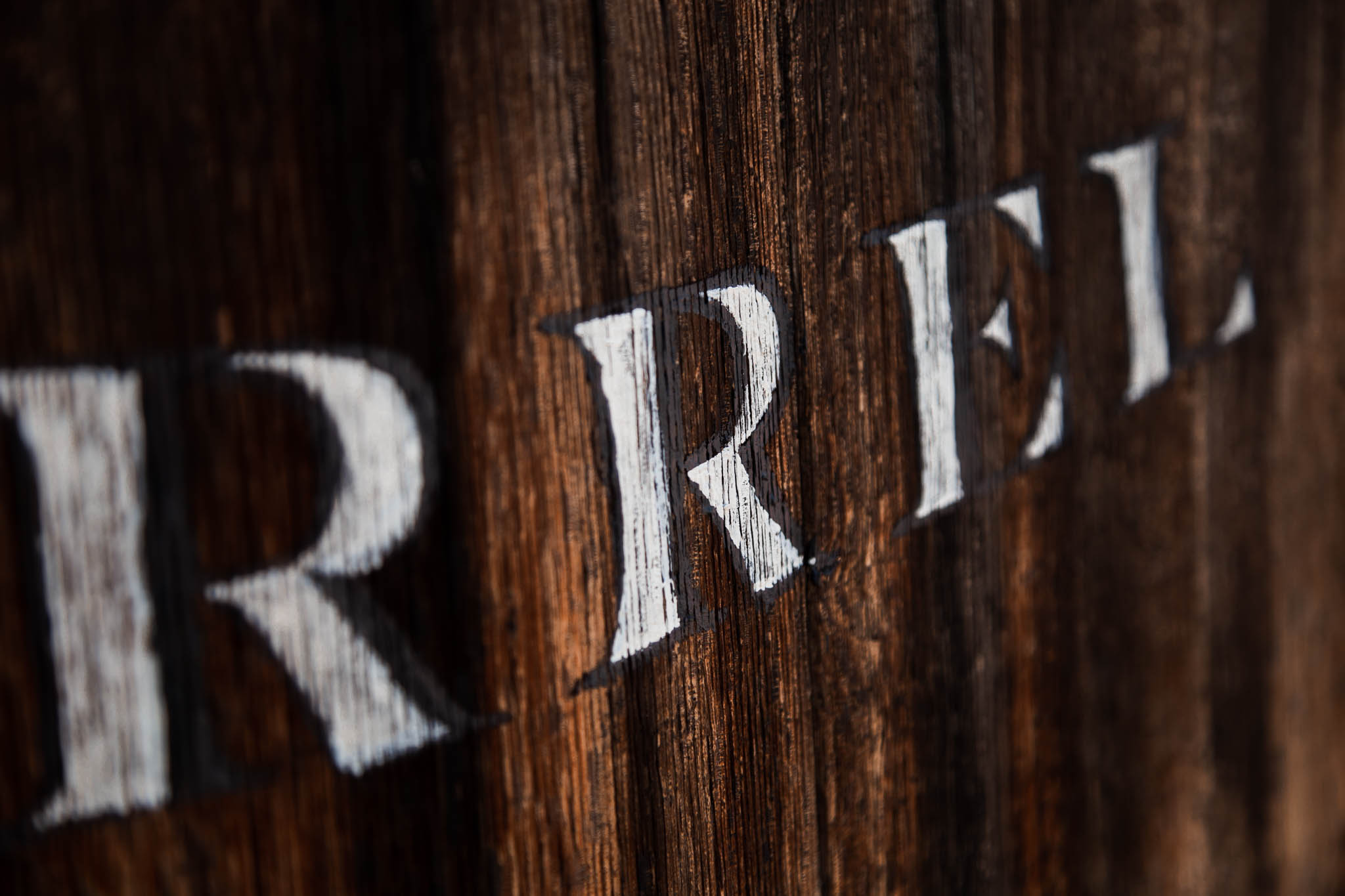 Details of Hand painted Barrel used as Hand Lettered Signage for San Diego Winery