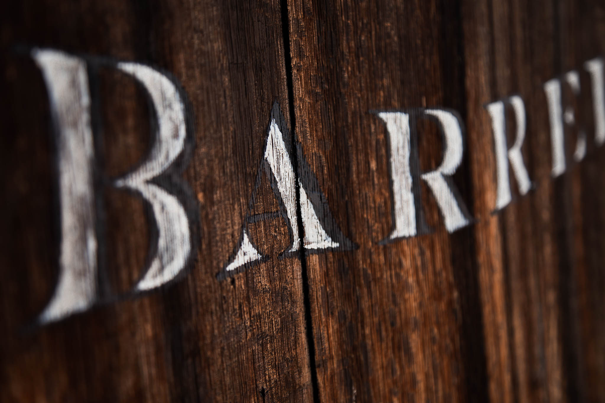 Details of Hand Lettered Signage hand painted by Amarie Design Co. for San Diego Winery, Forgotten Barrel