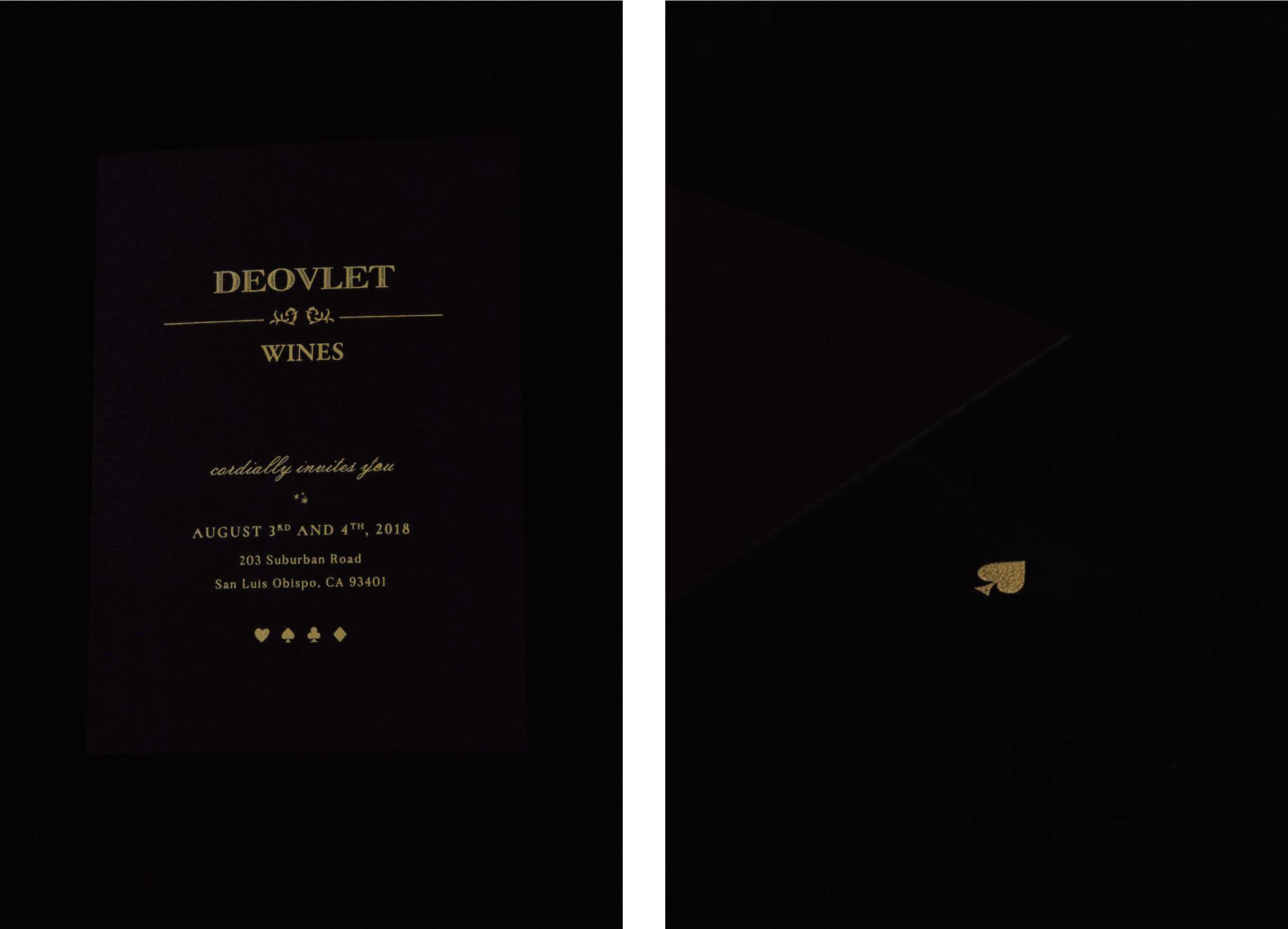 San Luis Obispo Luxury Stationery Designer Amarie Design Co. invitation suite design, Gold Metallic Foil on Black Paper for Winery