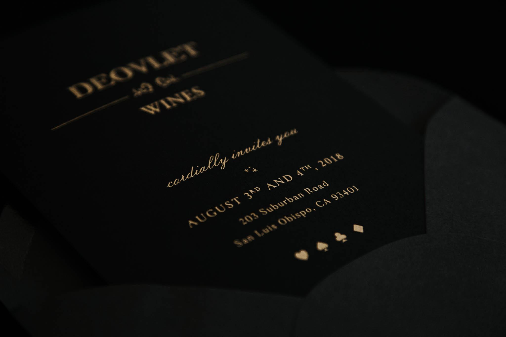 Metallic Gold on Black Custom Invitation Designer Amarie Design Co.