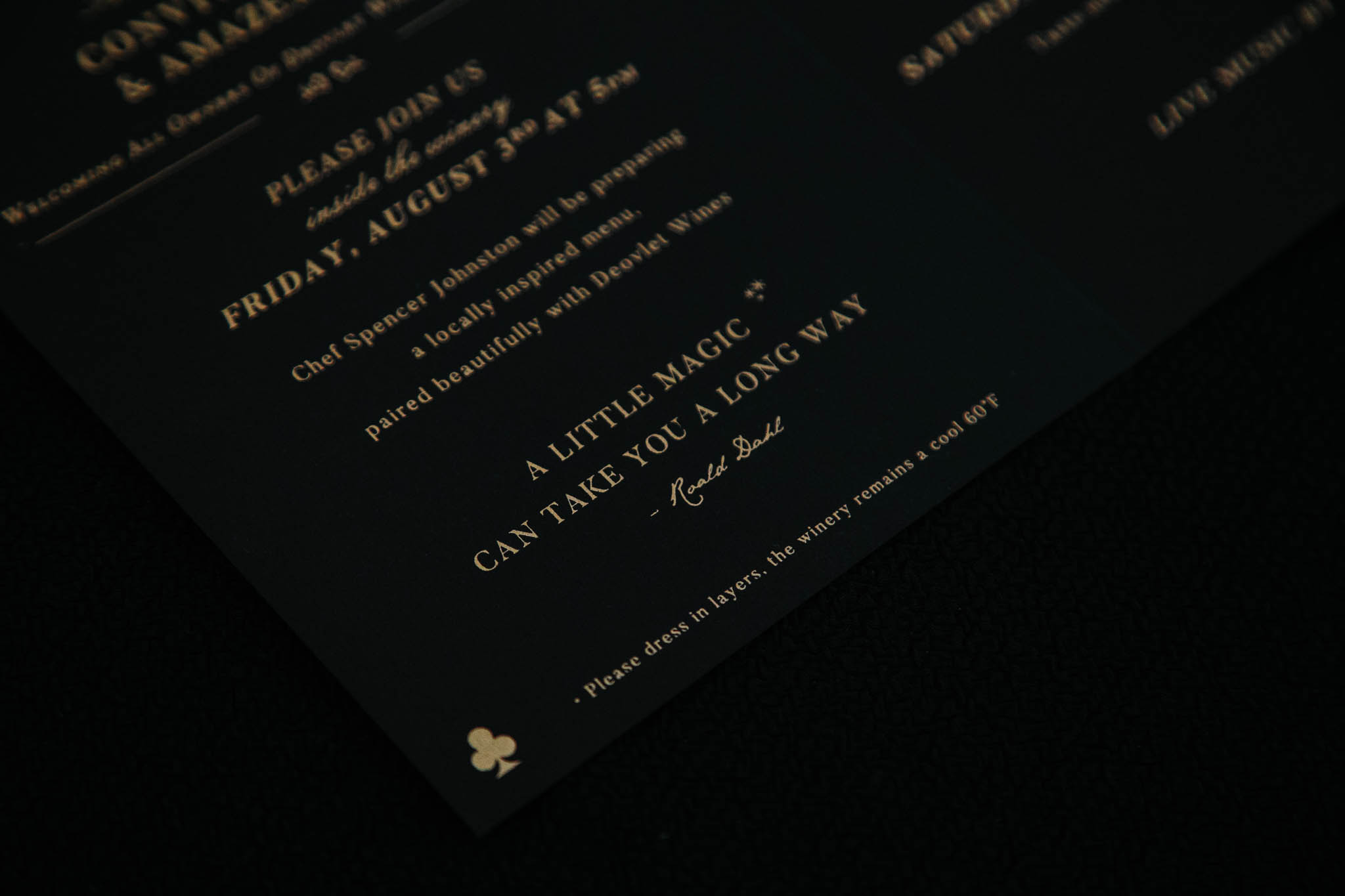 Invitation Designer of Magic Themed Invitation Suite Designed for San Luis Obispo winery, featuring gold metallic ink on black paper, Roald Dahl quote about magic