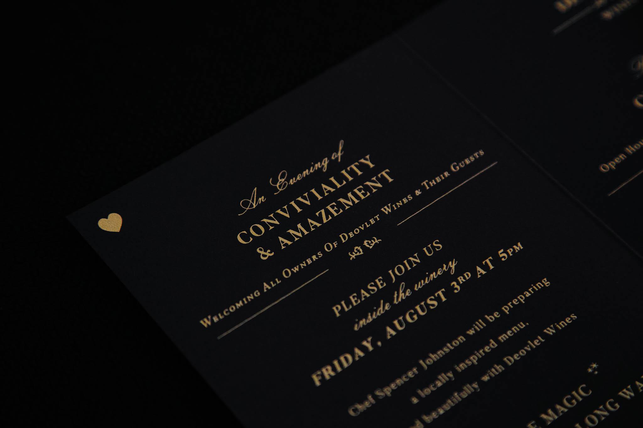 Custom Invitation Design for Winery in San Luis Obispo California