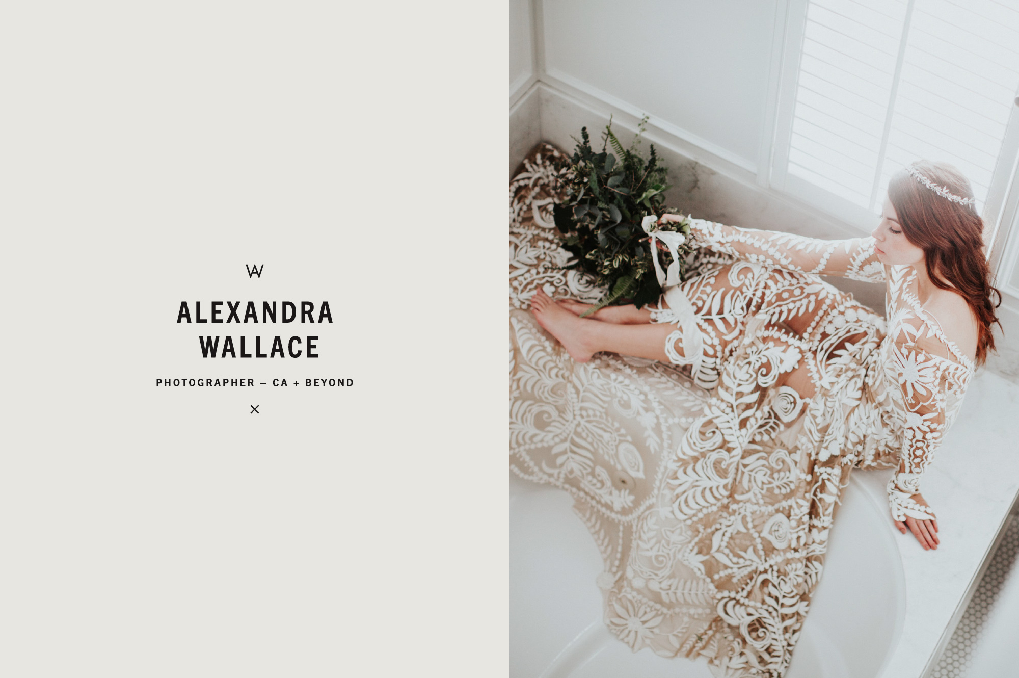 Photograph of Bohemian Bride in Lace Covered Gown - Brand Design for Photographer Alexandra Wallace