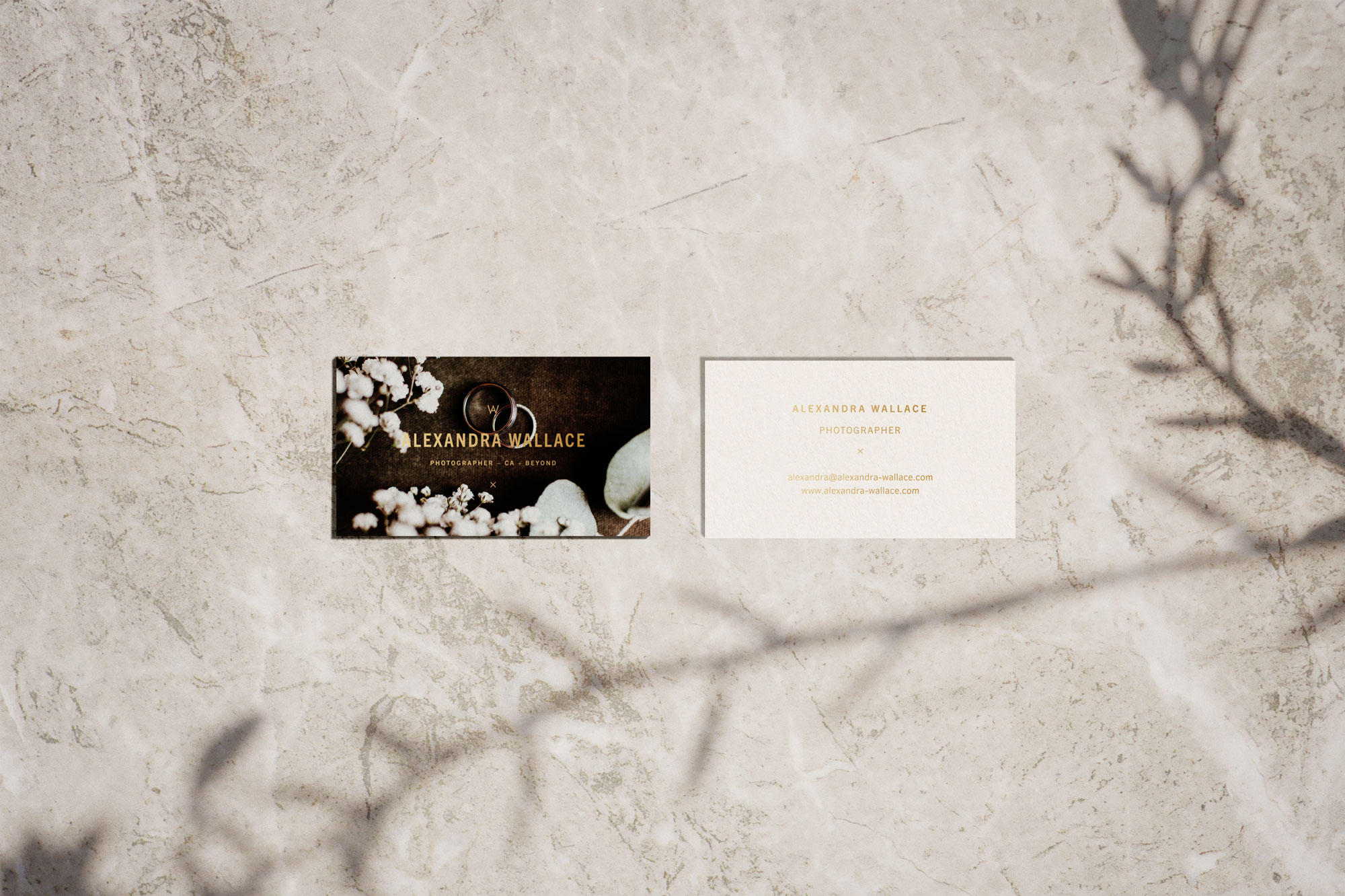 Gold Foil Business Card Design for San Luis Obispo Fashion and Wedding Photographer Alexandra Wallace
