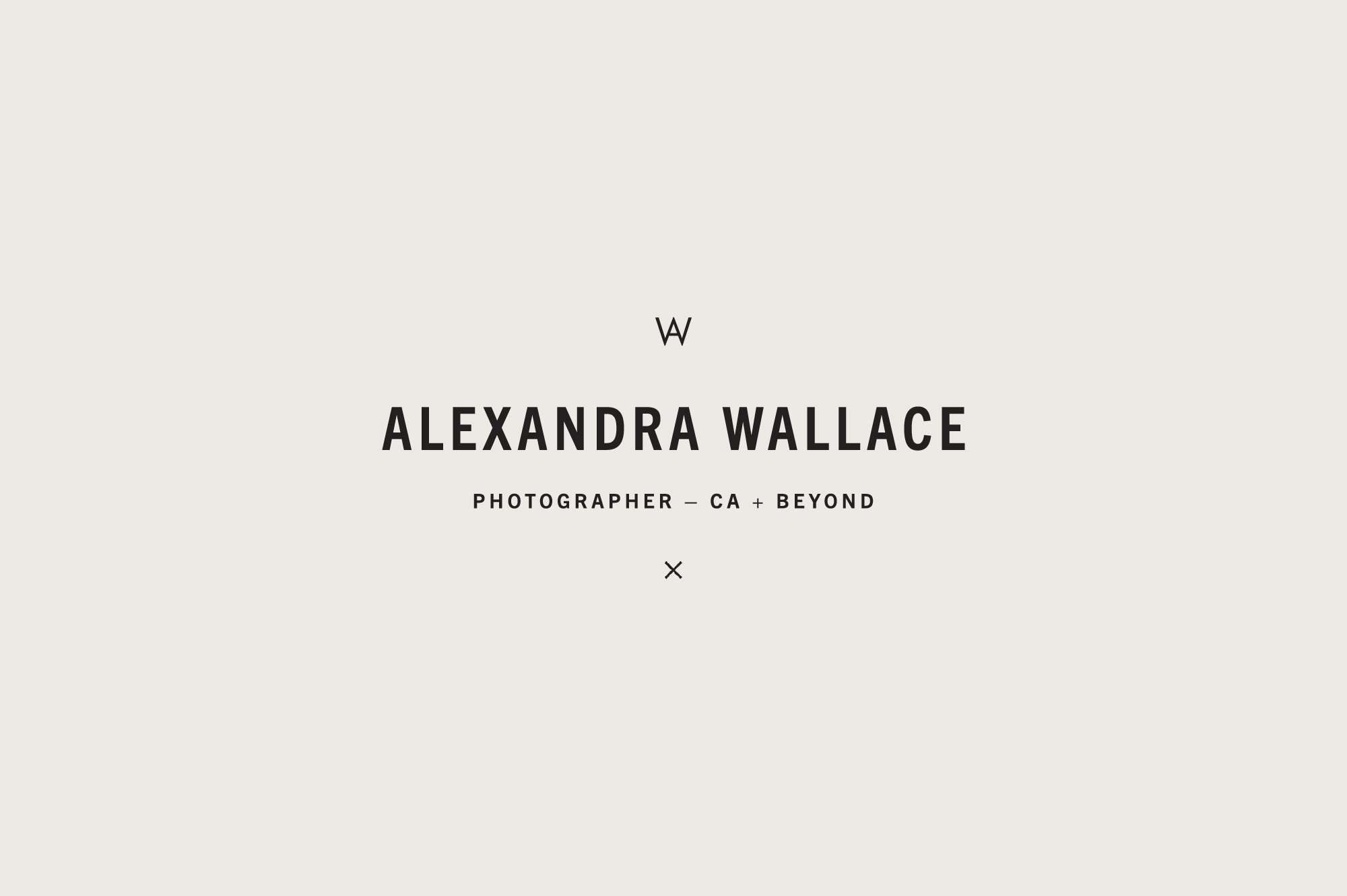 Primary Wordmark for Minimal Modern Branding Suite Brand Design for California Photographer Alexandra Wallace