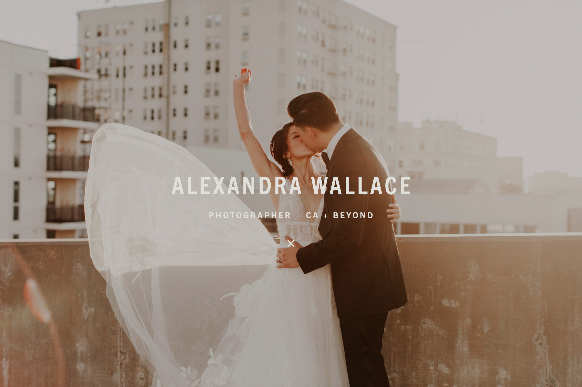 Primary Logo for Central Coast California Photographer Alexandra Wallace overlay with Urban Wedding Portrait