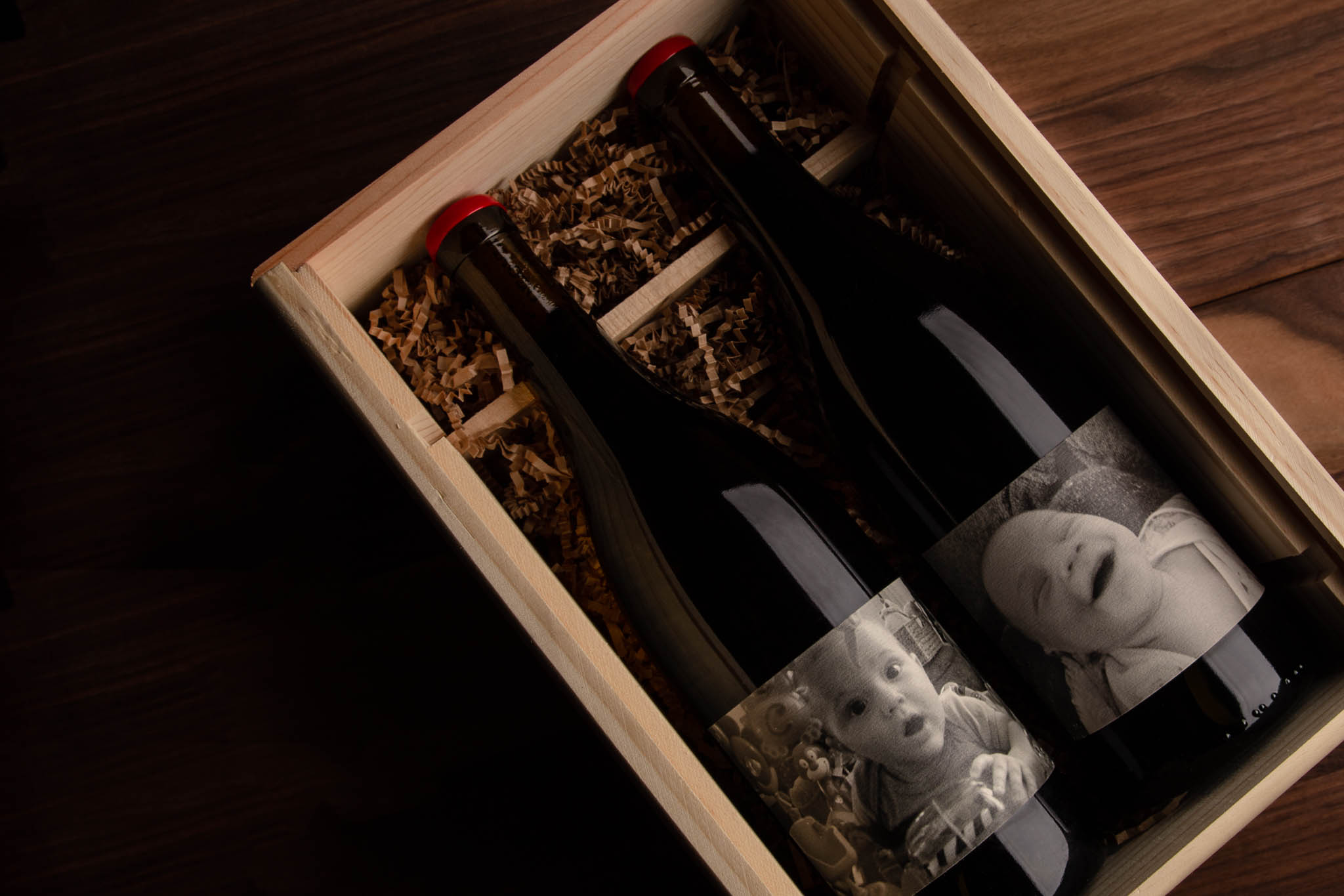 Artisanally Crafted Wooden Wine Box for Deovlet Wines in San Luis Obispo's Jack's Barrel Special Release