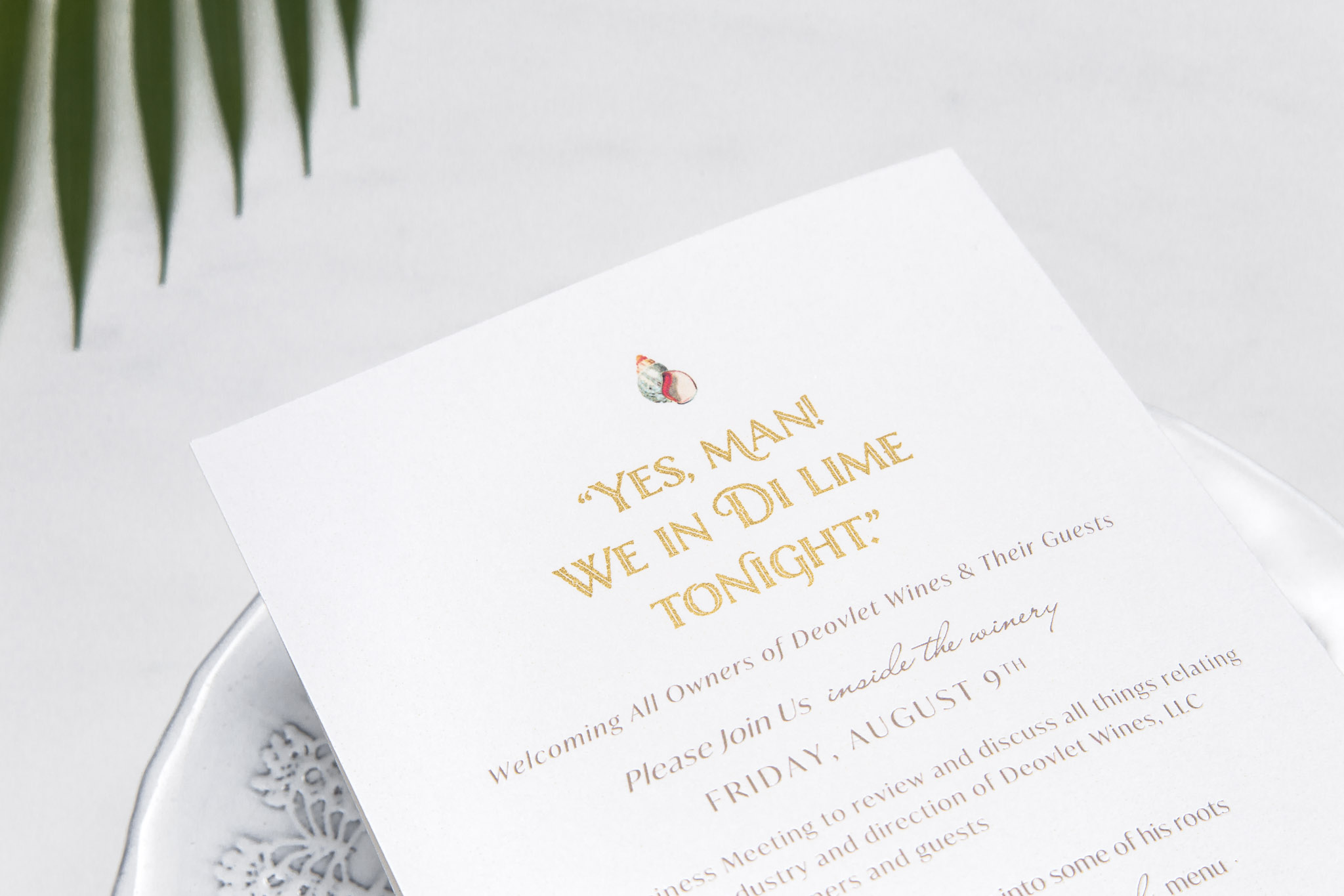 Deovlet Wines Carribean Inspired Invitation Suite – Central Coast Winery