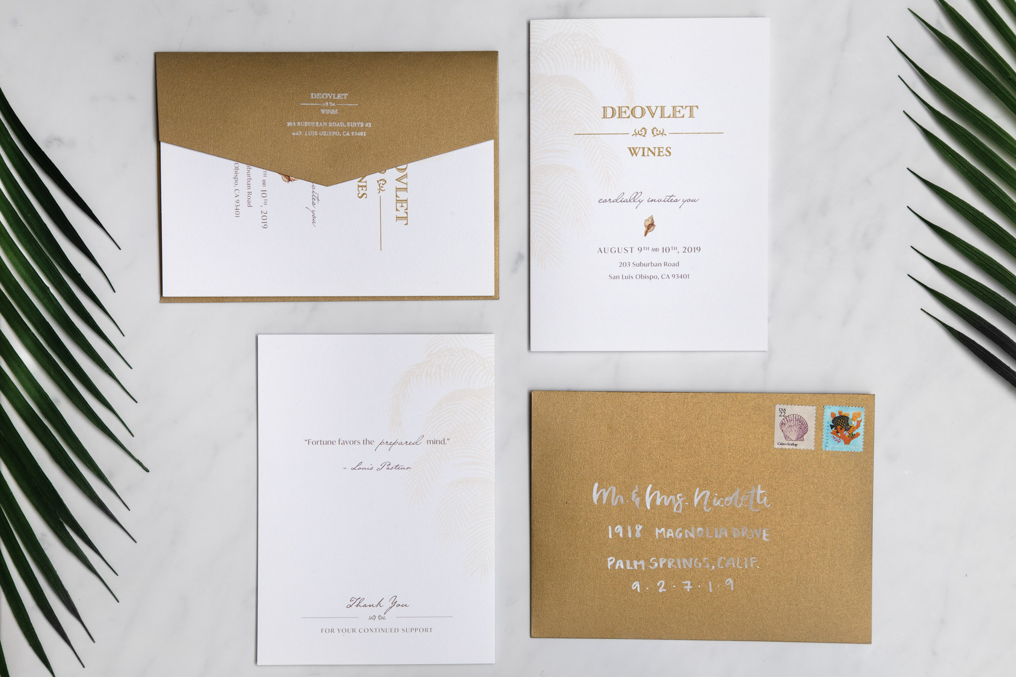 Custom Invitation Design and Event Stationery Suite for Central Coast winery Deovlet Wines